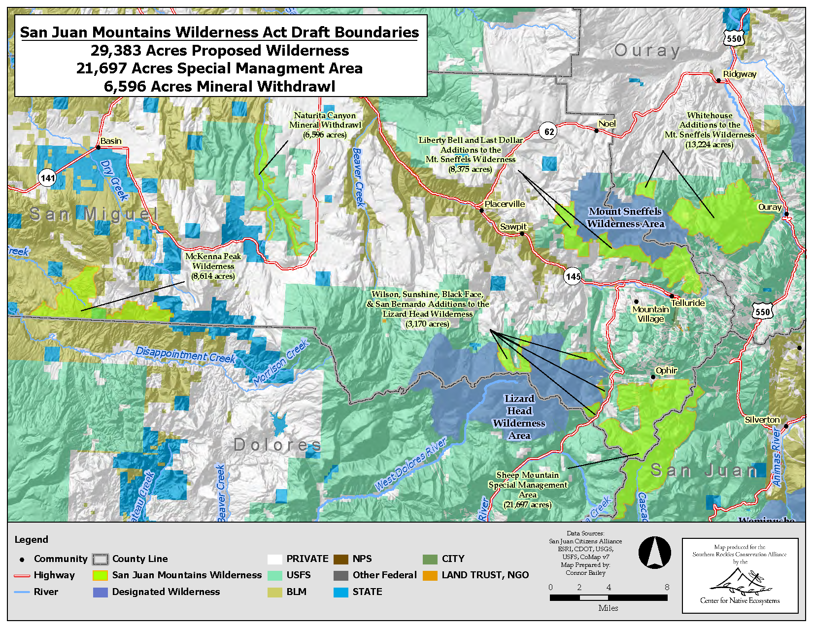 Overview Map of San Juan Mountains Wilderness Act