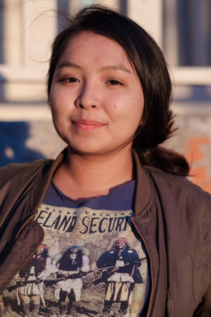 """""""I read a lot, I research, and I find ways to be home, be with the family… Resisting is hard, because you also have to care for your family and care for yourself.""""<br /><br />- Cheyenne, Community Activist"""